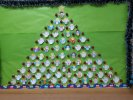 Our christmas tree for the world we dream of. Its made from many little angels with a different word-wish written on them: Love, Peace, Cooperation, Giving, Happiness, Presents, Sweets, Flowers ...